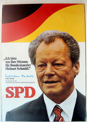 SPD Wahlplakat 1976 Wahlwerbeplakat Willy Brand ca 84x59 cm ORIGINALDRUCK
