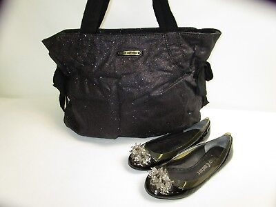 Juicy Couture Black Bag with Colored Sparkles Design + Flats-Style Shoes
