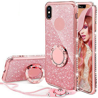 Crystal Plating Bumper Soft Back Glitter Cover Case + Lanyard + Ring for iPhone