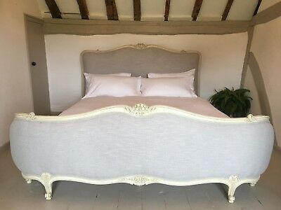 ANTIQUE FRENCH CORBEILLE BED 180cm SUPER KING BED OYSTER LINEN VINTAGE