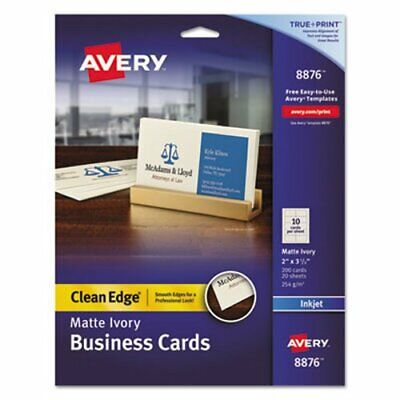 Avery Matte Business Cards, 2 x 3 1/2, Ivory, 10/Sheet, 200/Pack (AVE8876)