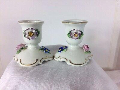 Antique Dresden Von Schierholtz Hand Painted Porcelain Candle Holders Germany
