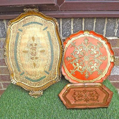 Vintage Collection Three Florentine Serving Trays - Various Gilt Paint & Round