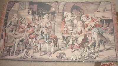 "Antique Belgium Tapestry Tavern Scene..Dogs.. 24"" by 44"" Good Condition"