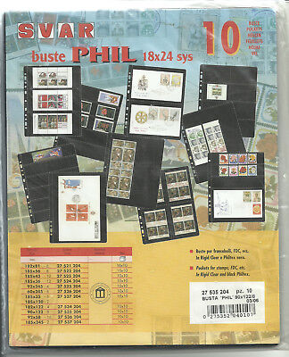 "Pack of 10 90x122 4-Pocket Svar ""Harmony"" Philatelic Storage Sleeves"