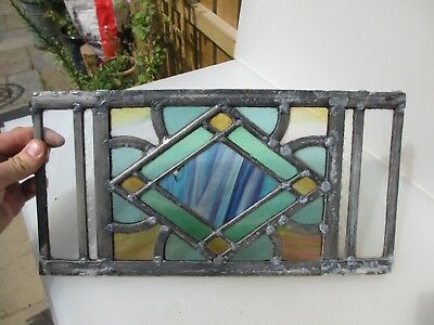 """Antique Stained Glass Window Panel Old Antique Leaded Victorian  14.5"""" x 8"""""""