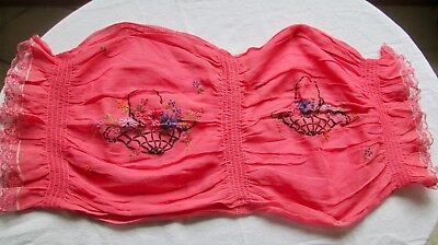 Antique Hand Embroidered Pink Organdy Boudoir Neck Pillow Cover With Smocking