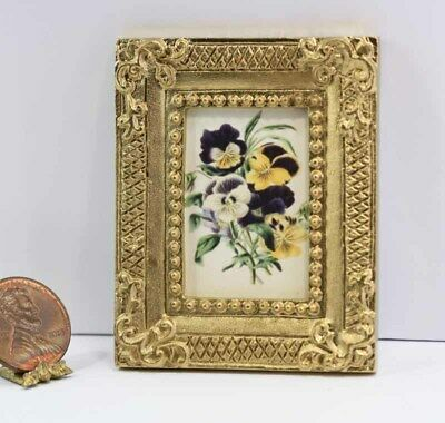 Dollhouse Miniature Gold Framed Picture of a Vintage Looking Pansy Print