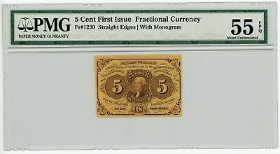 Fr. 1230 5c 1st Issue Fractional Currency #929126-15 55 EPQ PMG With Monogram