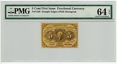 Fr. 1230 5c 1st Issue Fractional Currency #929126-21 64 EPQ PMG With Monogram