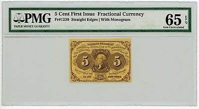 Fr. 1230 5c 1st Issue Fractional Currency #929126-20 65 EPQ PMG With Monogram