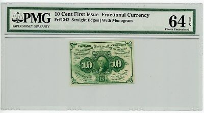 Fr. 1242 10c 1st Issue Fractional Currency #929131-2 64 EPQ PMG With Monogram