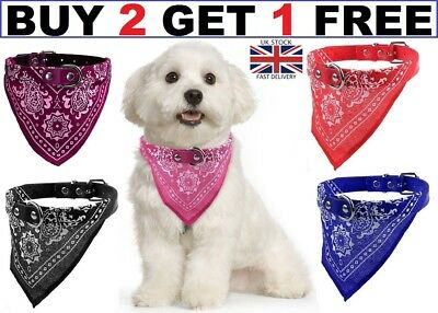 Dog Neck Scarf Bandana With Collar - Adjustable Cat Pet Puppy Neckerchief New Uk