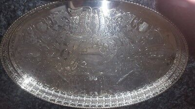 Vintage Large Silver Plated Gallery Tray.Viners Alpha Plate.Chased.Sheffield.