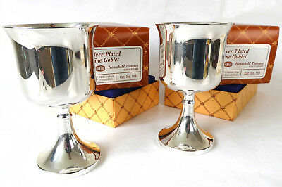 "Vintage Pair of 4.75""/12.5cm Silver Plated Wine Goblets by Ianthe - Boxed"