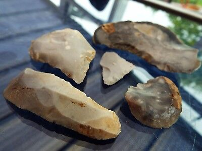 "ELK"" 5 SUPER Neolithic to Bronze-Age Flint ARROWHEADS/BLADES/SCRAPERS fm Norfolk"