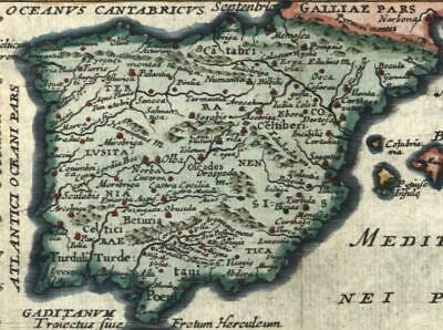 Spain c.1680-1710 miniature old map lovely example hand color
