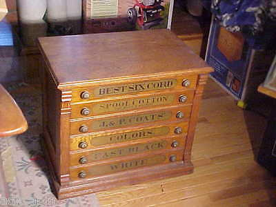 Antique J & P COATS General Store Spool Thread Cabinet 6 Drawers End Table  Chest - ANTIQUE J & P COATS General Store Spool Thread Cabinet 6 Drawers End