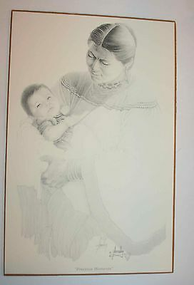 Native American Cherokee Bob Amnesley Signed Print: Precious Moments