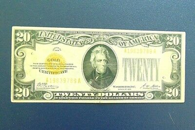 1928 Twenty Dollar Gold Certificate. Very Good. Additional coins ship FREE.