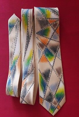 ANGLES , Unique Hand painted Men's Tie, classic width  silky, abstract, colorful