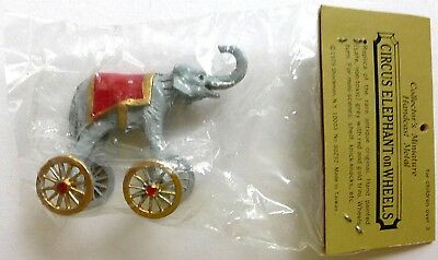 New old stock hand cast metal Circus Elephant on Wheels from Shackman NY 1979