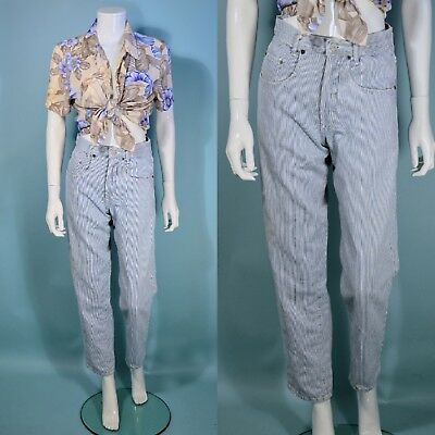 Vintage 80s Guess High Waist Jeans, Button Fly Pinstriped Pants Size 0