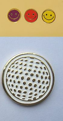 1 ONLY 23MM GOLF BALL MARKERS, SMILEY FACE YELLOW / RED or PURPLE