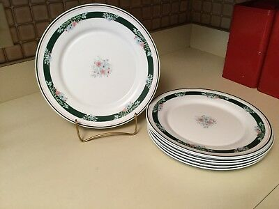 Vintage Arcopal White Milk Glass Misty Meadow Set of 7 Dinner Plates France Ret