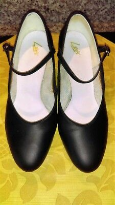 """Black Professional Ballroom Dance Shoes """"character Style"""" Leather Sz 8 W 1 1/2"""""""""""