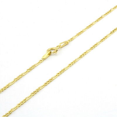 10K Yellow Gold SOLID 2mm Thin Womens Figaro Chain Link Pendant Necklace 22""