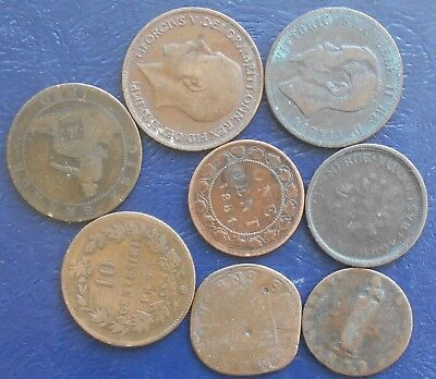 Lot (8) 1600's-1900's World Coppers Italy GB Spain Canada Haiti Circulated #PB19
