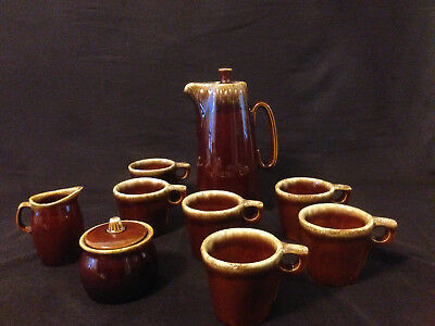Gorgeous vintage Hull, brown drip glaze complete coffee set for 6
