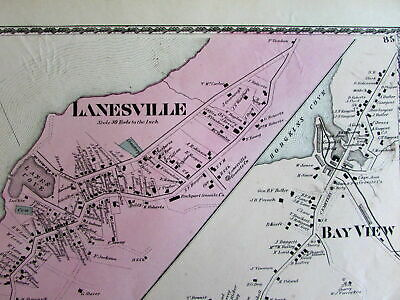 Lanesville Annisquam Bay View Lobster Essex County Mass. 1872 detailed old map