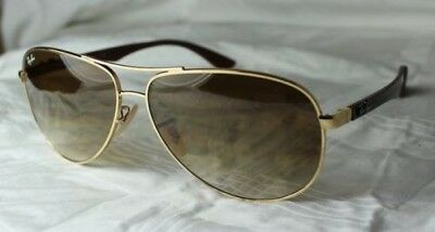 253d1e87c9817 RAY-BAN SUNGLASSES CARBON Tech RB 8313 001 51 Size 58 +61 NEW Gold ...