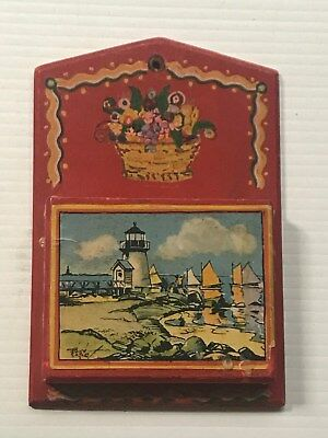 Rare - Tony Sarg  Brant Point Lighthouse Nantucket Wall Letter / Note Pad Holder
