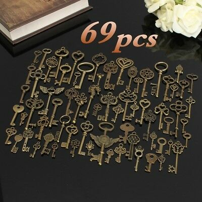 69Pcs Antique Vintage Old Look Bronze Skeleton Keys Fancy Heart Bow Pendant