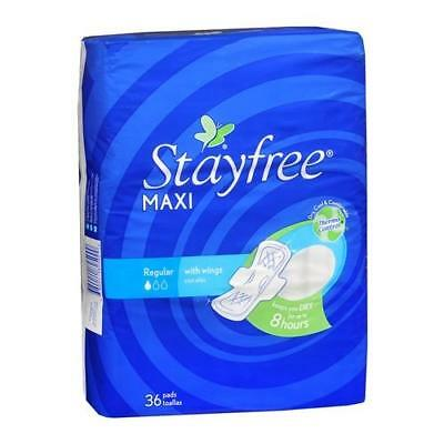 STAYFREE Maxi Pads Regular With Wings 36 EA