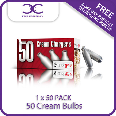 Cream Chargers 50 BULBS- 50 PACK X 1-QuickWhip- WHIPPER NO2-CAKE EMERGENCY