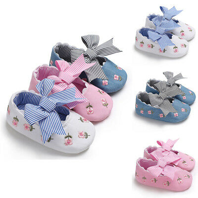 Baby Kids Girl Lovely Cute Soled Canvas Toddler Shoes Bow Floral Soft Autumn NEW
