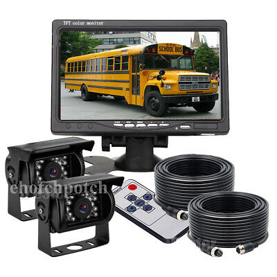"7"" Monitor + Wireless Rear View Backup Camera Night Vision for RV Truck Bus Kit"
