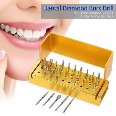 30PC Dental Diamond Burs Drill + Disinfection Block High Speed Handpieces Holder