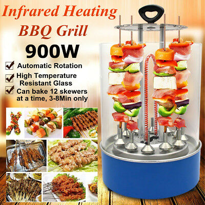 Electric BBQ Barbecue Grill Vertical Rotating Rotisserie Cooking Machine 900W