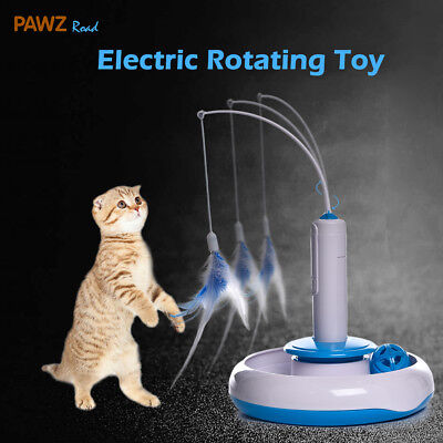 Pet Cat Automatic interactive Funny Toys Kitten Electric Rotating Feather Teaser