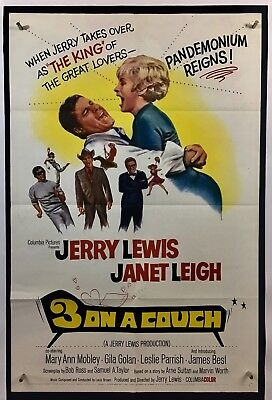 3 ON A COUCH Movie Poster (Fine-) One Sheet 1966 Jerry Lewis 873