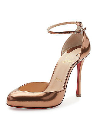 100% Authentic New Women Louboutin Dollyla 100 Cappuccino Metal Pumps/heels Us 8