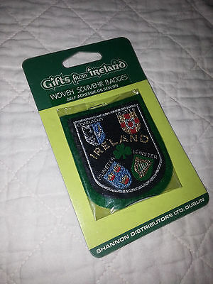 NIP Shannon IRELAND Woven Souvenir Badge Patch Shamrock Clover Coat of Arms
