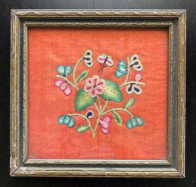 Fine Antique Chinese Silk Embroidered Textile Panel Flowers Blossoms Art NICE