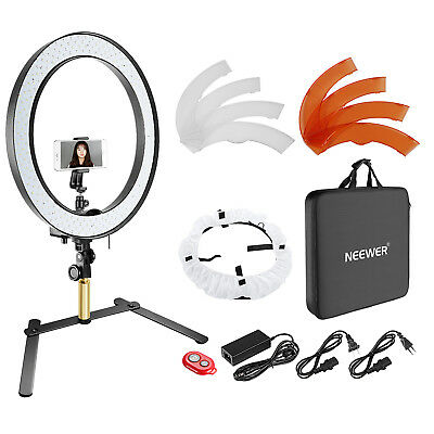 Neewer Table Top SMD LED Ring Light Lighting Kit with Support Stand Color Filter