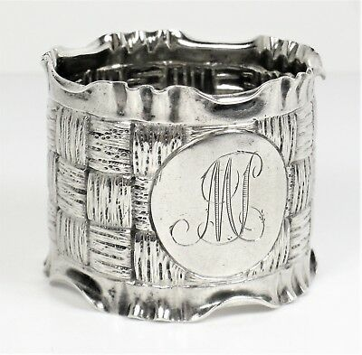 Napkin ring EXCEPTIONAL antique embossed work large solid silver